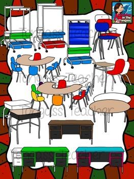 Classroom Furniture Clipart Bundle.