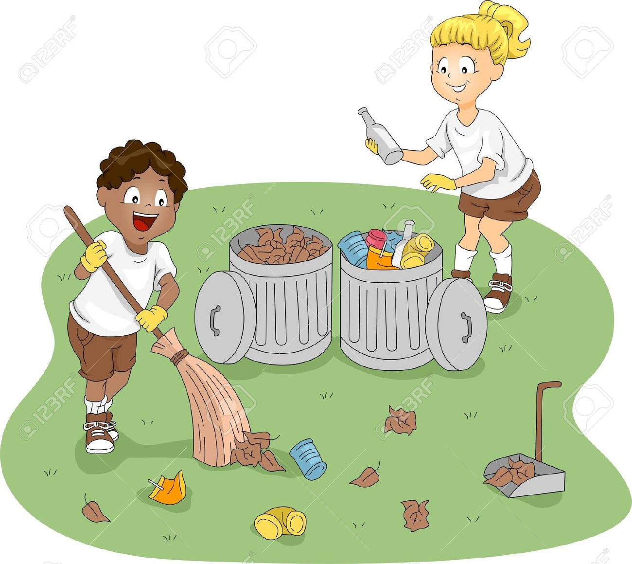 Kids Clean Up Classroom Clipart.