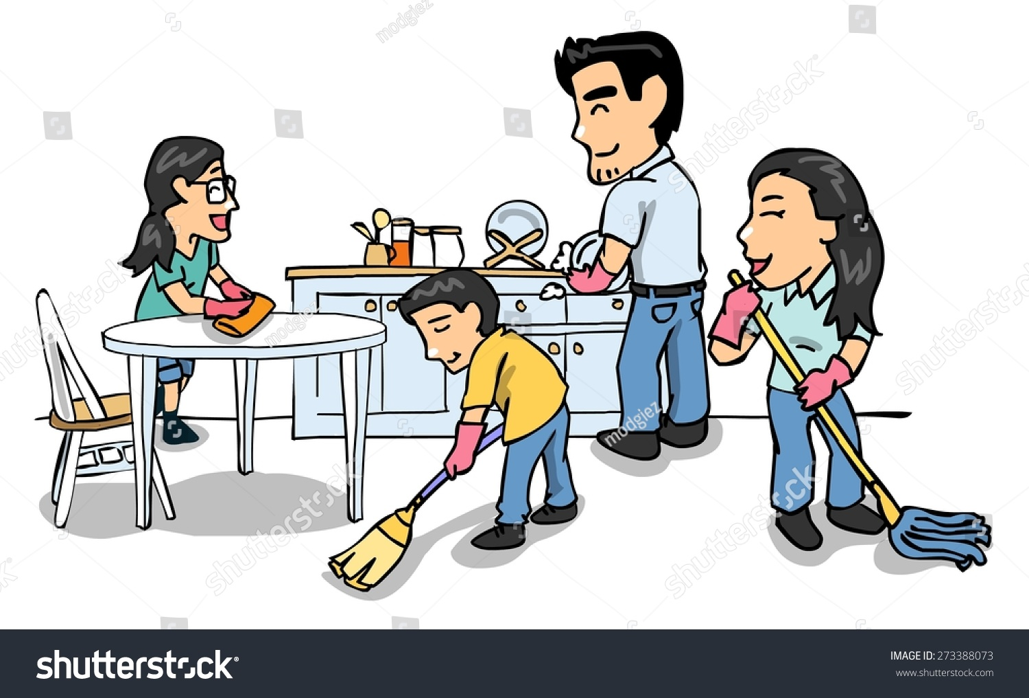 Family cleaning together clipart 6 » Clipart Station.