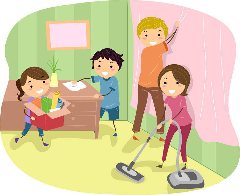 Family cleaning the house clipart 6 » Clipart Station.
