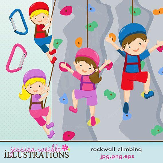 Rock Wall Climbing Girls Cute Digital Clipart.