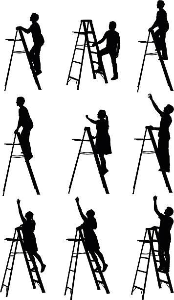 Ladder Silhouette Men Moving Up Clip Art, Vector Images.
