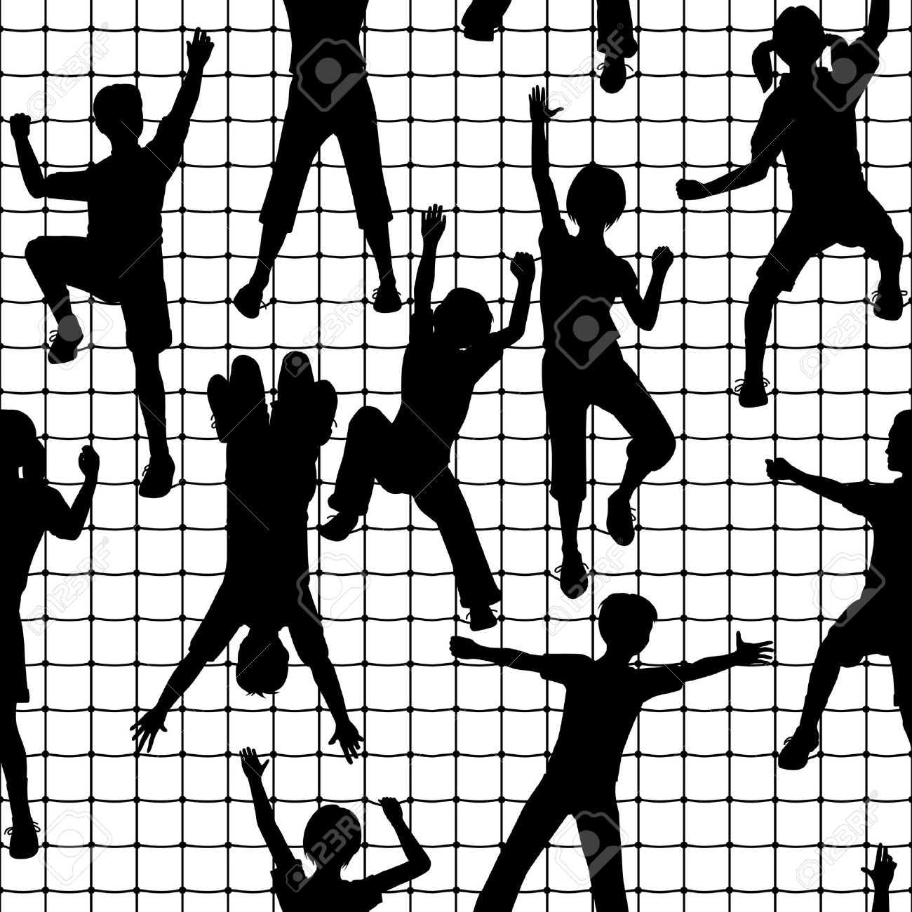 Editable Seamless Tile Of Children Silhouettes Climbing A Rope.