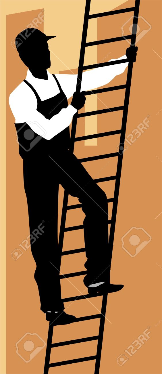 Illustration Of Silhouette Of A Man Climbing Ladder Stock Photo.