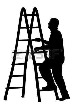 125 Painter Painting With Ladder Stock Vector Illustration And.