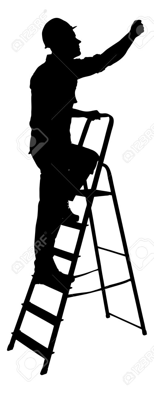 Full Length Of Silhouette Construction Worker Climbing On Ladder.