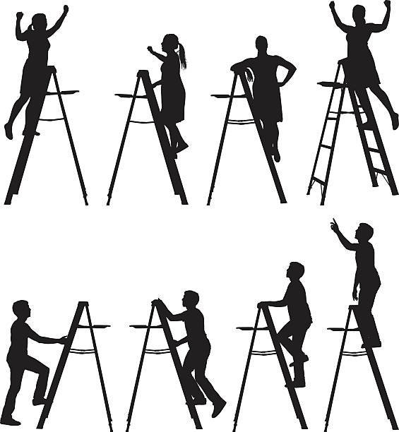 Silhouette Of Climbing Ladder Clip Art, Vector Images.