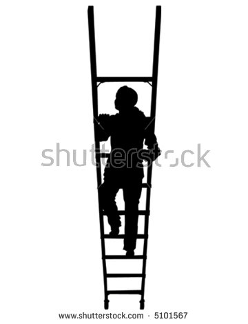 Woman Climbing Ladder Stock Images, Royalty.