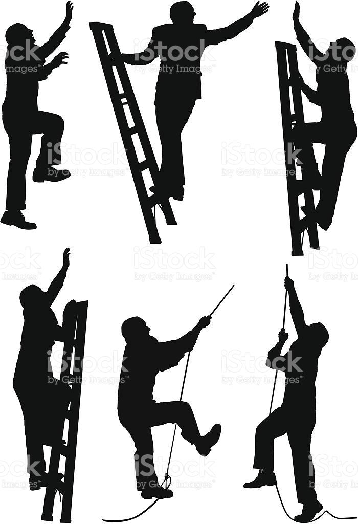 Businessmen Climbing The Ladder Of Success stock vector art.