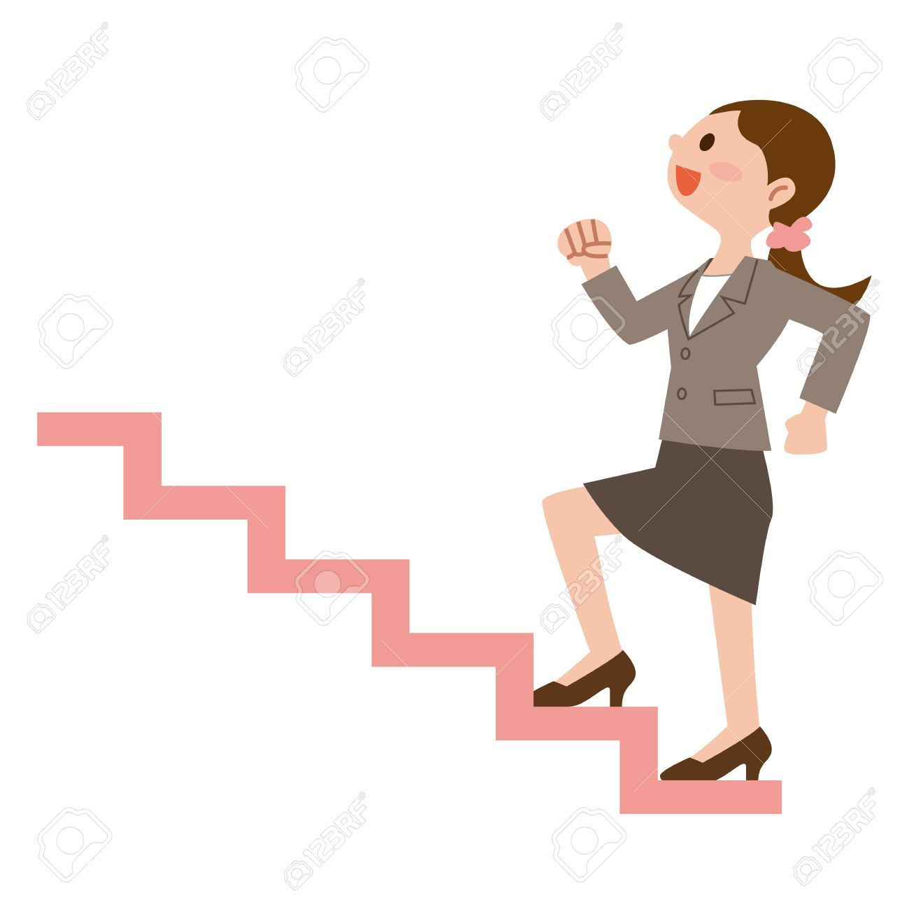 Business woman to climb the stairs » Clipart Portal.