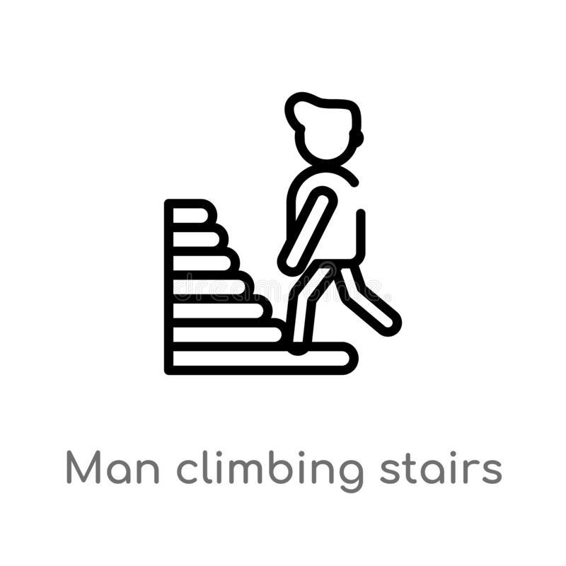 Man Climbing Stairs Stock Illustrations.