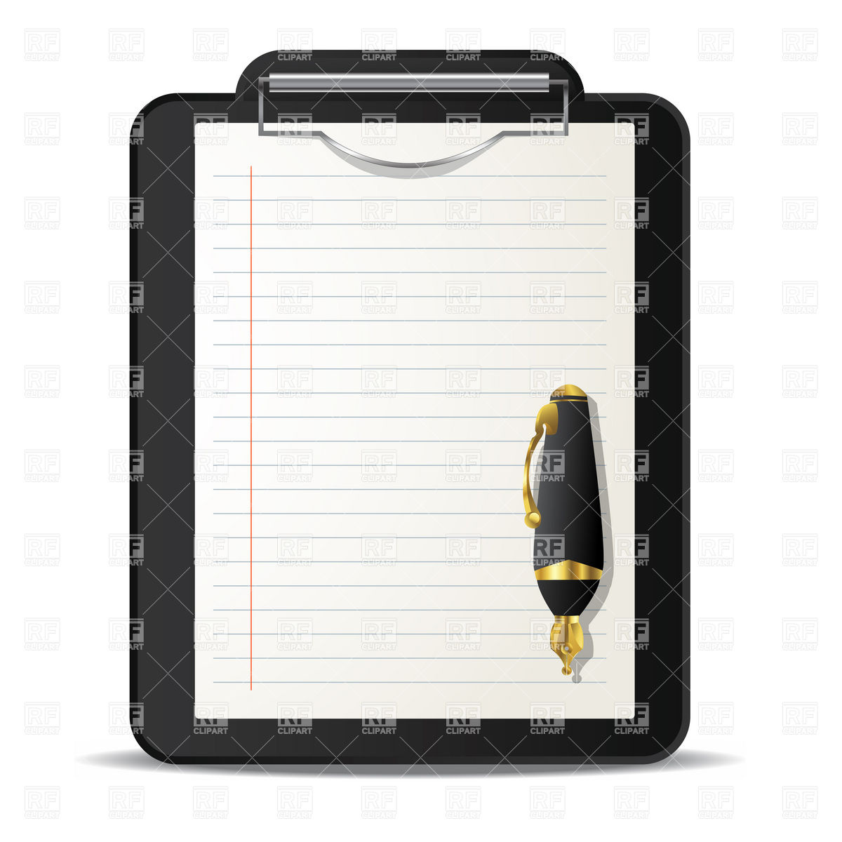 Clipboard and ink pen over Stock Vector Image.