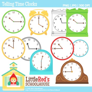 Telling Time Clocks Clip Art.