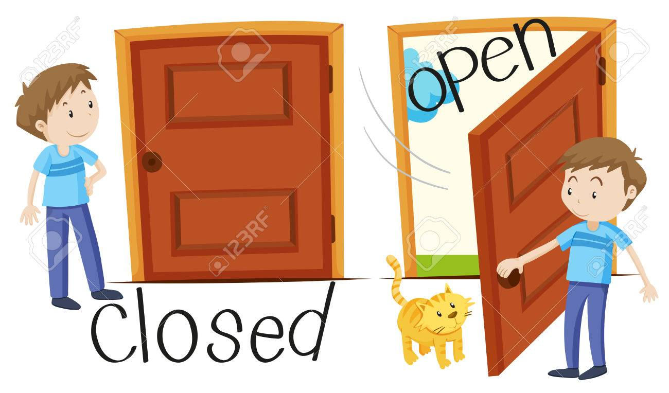 Man by closed and opened door illustration.
