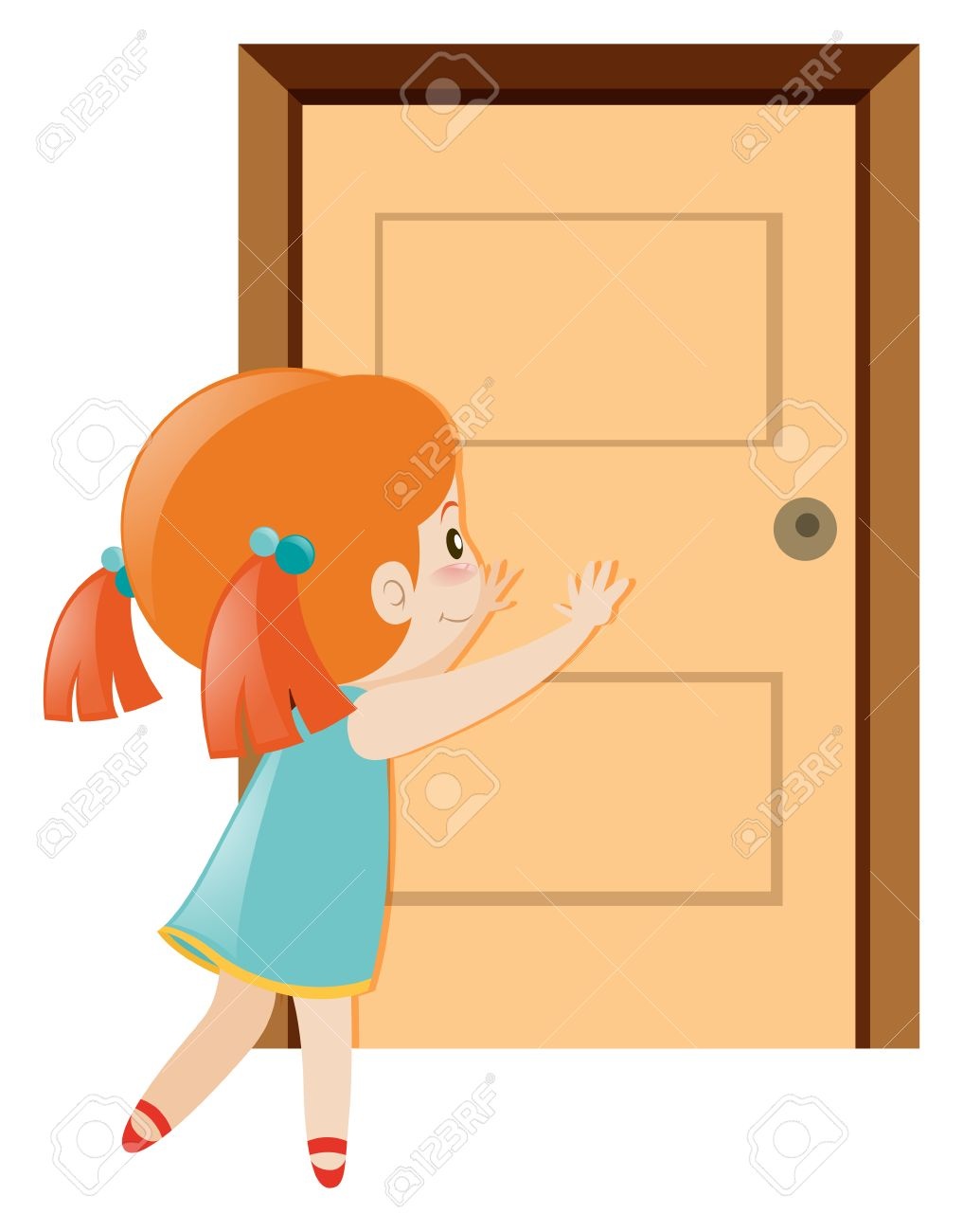 Little girl pushing the door open illustration.