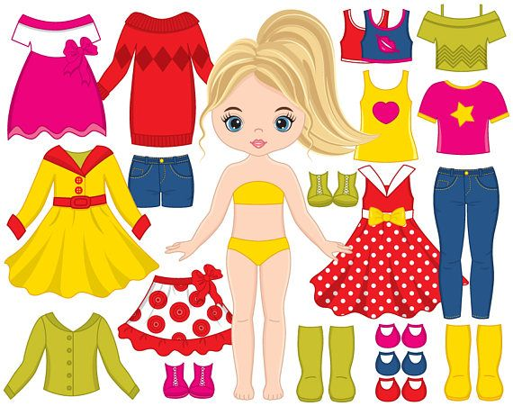 70% OFF SALE Paper Doll Clipart Vector Dress Doll Clipart.