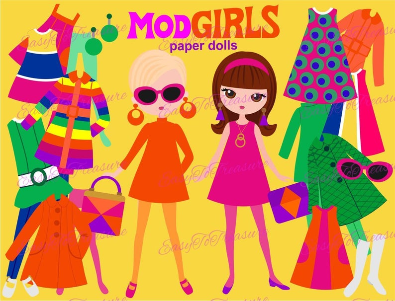 Paper doll printable, mod clothes clipart, girl clip art, paper doll  clipart, clothes clipart, paper dolls digital.