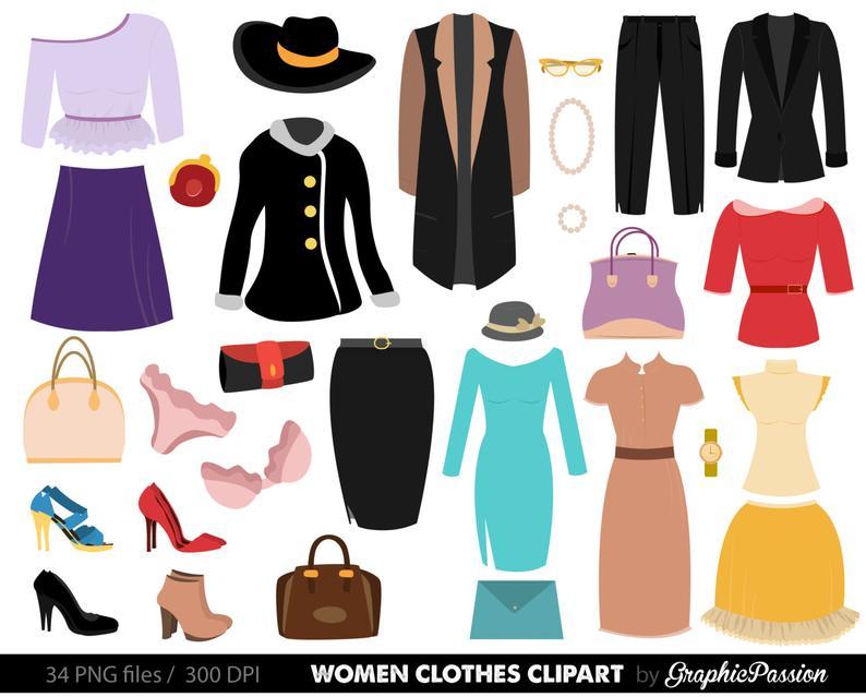 Clothes Clipart. Fashion Clipart Fashion clothes clipart Women clothes  clipart shopping clipart clothes digital images INSTANT DOWNLOAD.