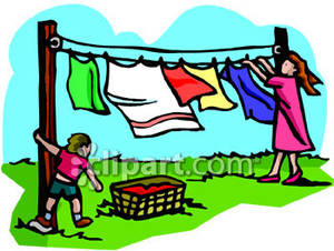 Drying Clothes Clipart.