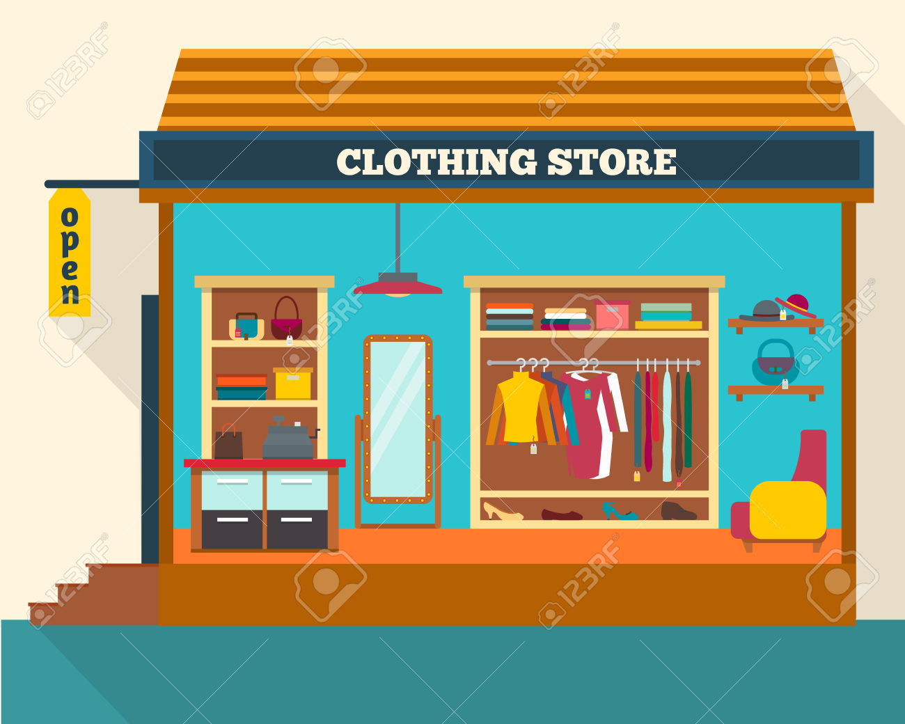 Clothing Store. Man And Woman Clothes Shop And Boutique. Shopping.