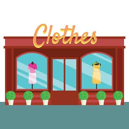 Clothes Shop and Store, Building Front Flat Vector Illustration.