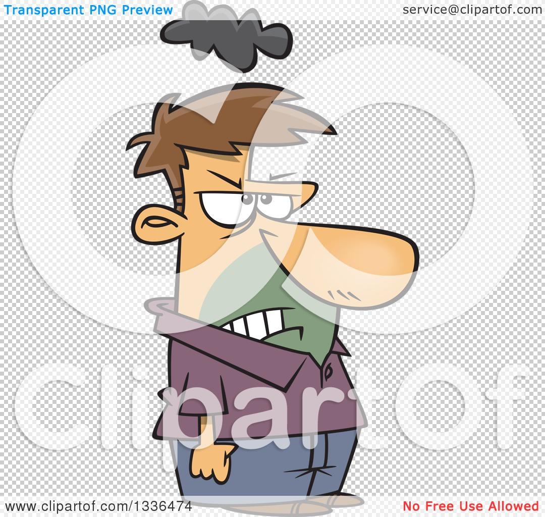 Clipart of a Cartoon Short Grumpy Caucasian Man with a Cloud over.