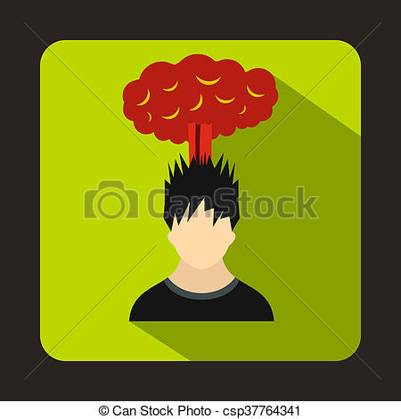 Drawing of Man with red cloud over head icon, flat style.