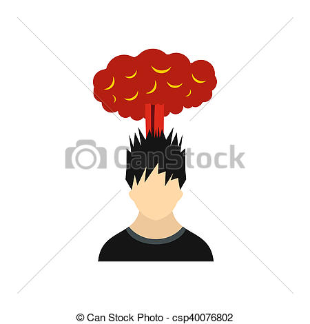 Stock Illustration of Man with red cloud over head icon, flat.