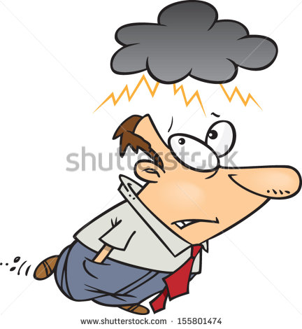 Cartoon Man Dark Rain Cloud Over Stock Vector 155801474.