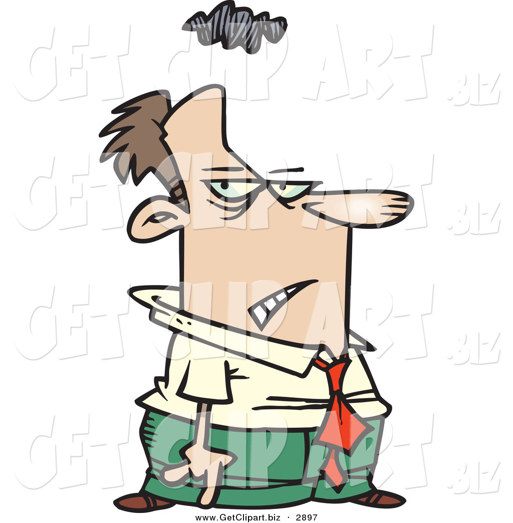 Clip Art of a Gloomy White Business Man with a Storm Cloud over.