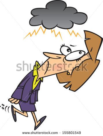 Cartoon Woman Dark Rain Cloud Over Stock Vector 155801549.