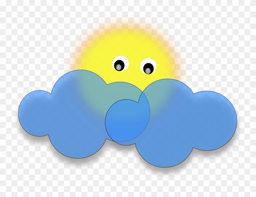 Sun Behind The Cloud Vector Clipart Image.