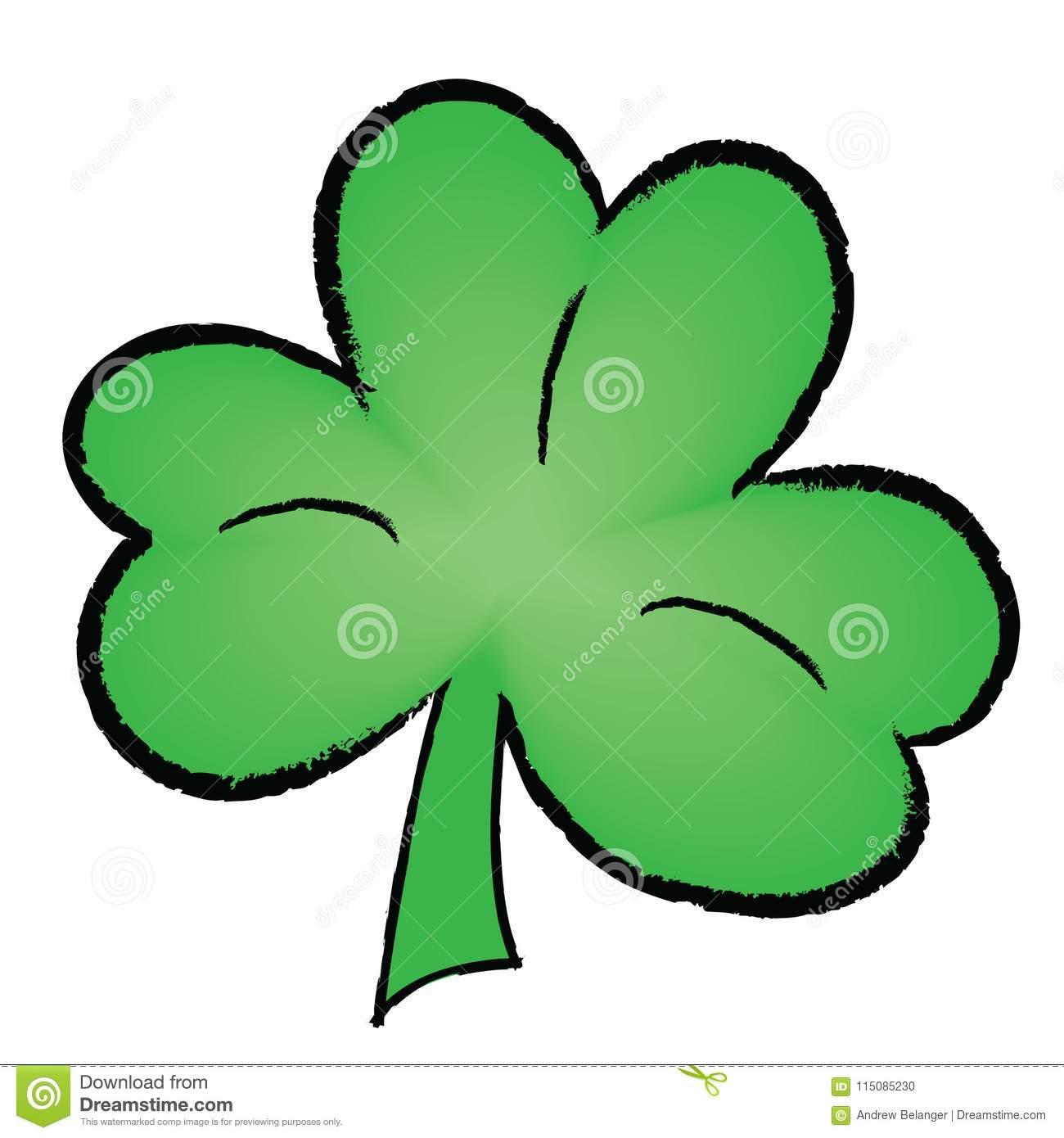 Green Clover Leaf Illustration Stock Vector.