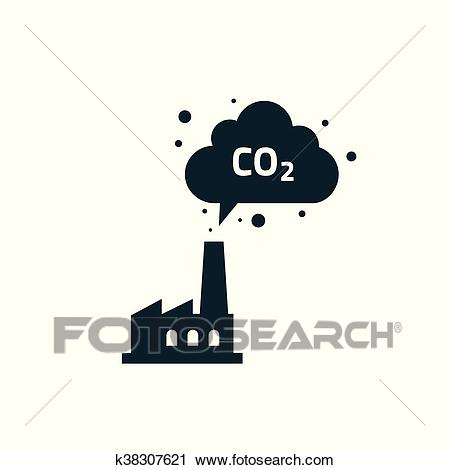 Factory plant silhouette chimney polluting CO2 emissions cloud smoke vector  Clipart.