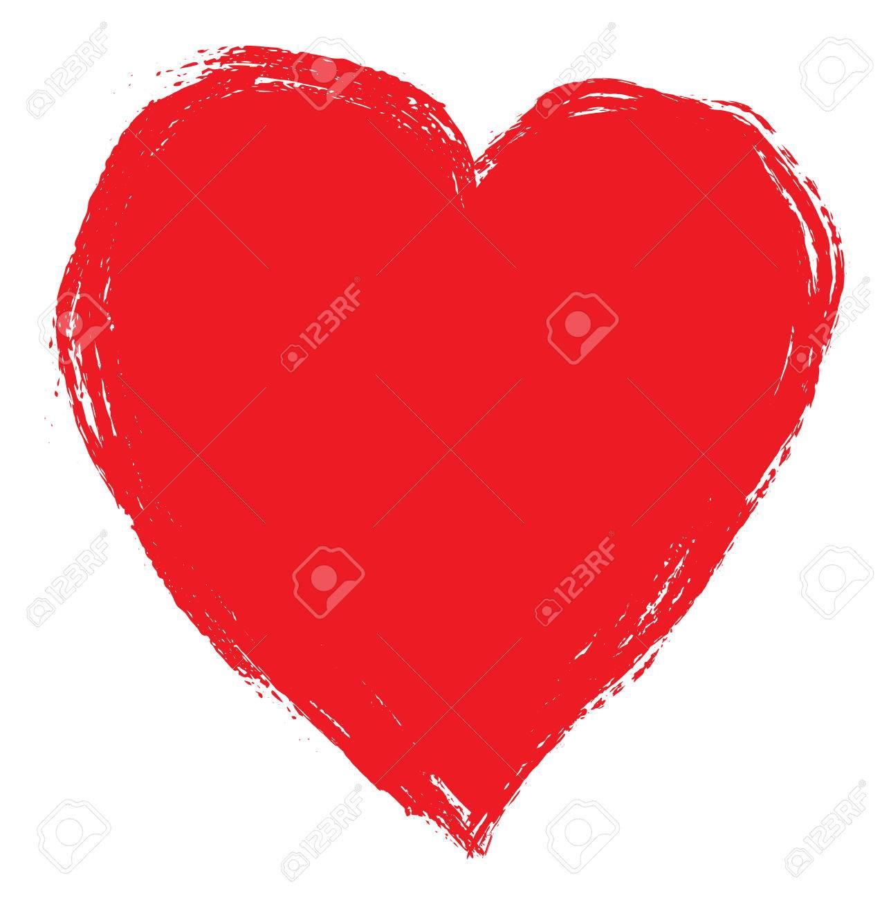 Main dessin coeur rouge isolé sur blanc. Clipart.