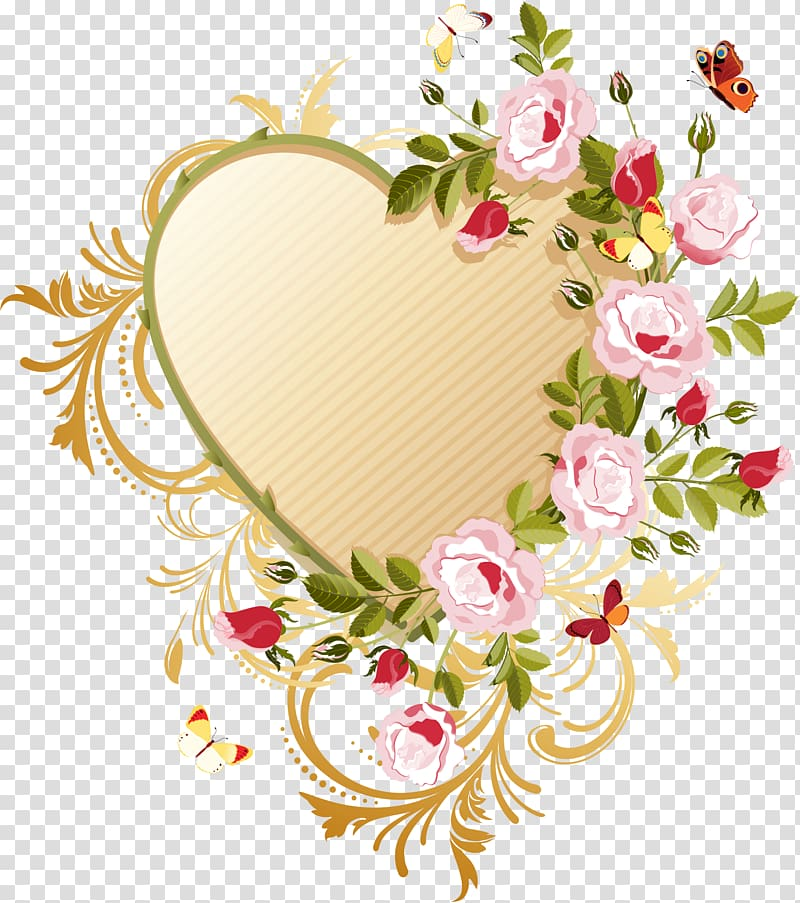 Rose Heart Flower, coeur transparent background PNG clipart.