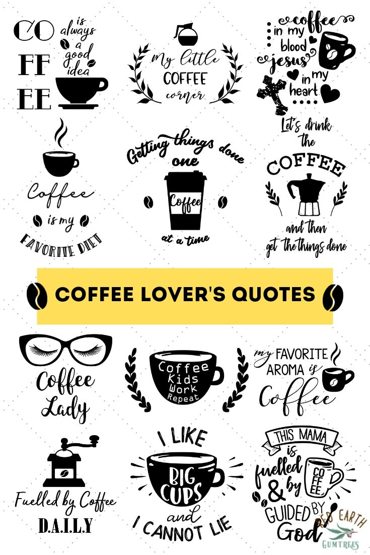Coffee lover's quotes bundle in SVG, EPS, PDF, DXF, PNG.