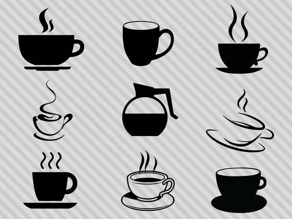Coffee svg bundle, coffee clipart, coffee cup silhouette, coffee pot svg,  coffee cup clipart, dxf, png.