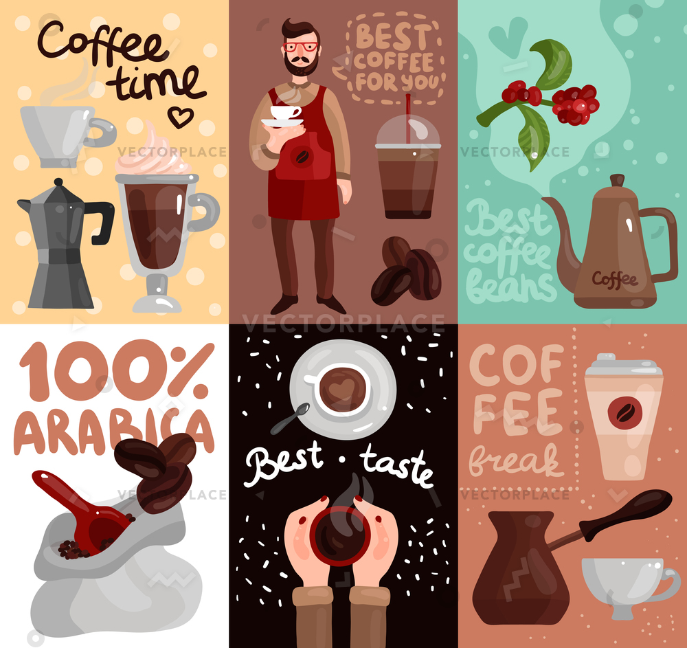 Coffee production cards with advertising of best coffee beans and taste of  arabica sort flat vector illustration.