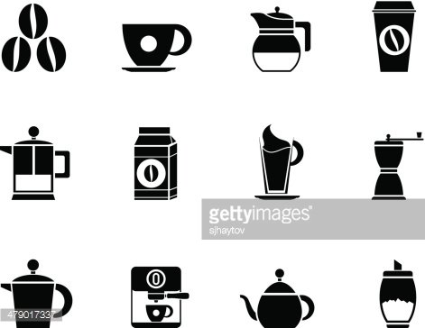 Silhouette coffee industry signs and icons Clipart Image.