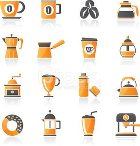 different types of coffee industry icons Clipart Image.