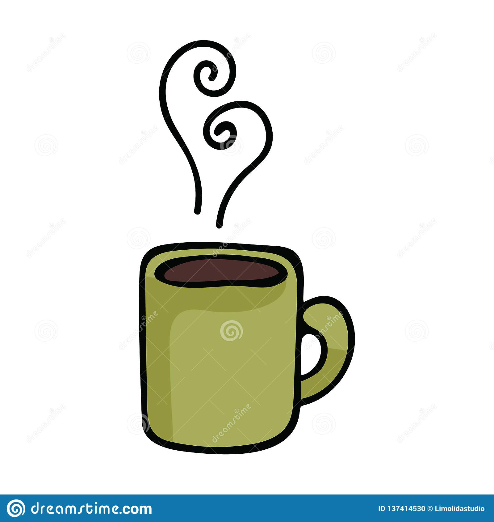 Cute Coffee Mug Cartoon Vector Illustration Motif Set Stock.