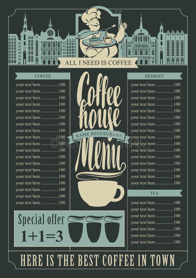 Coffee House Menu Price List Stock Illustrations.