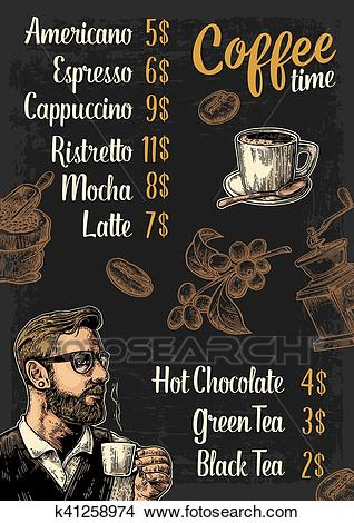 Restaurant or cafe menu coffee drinck with price. Clipart.
