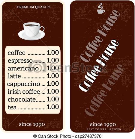 menu for coffee shop.