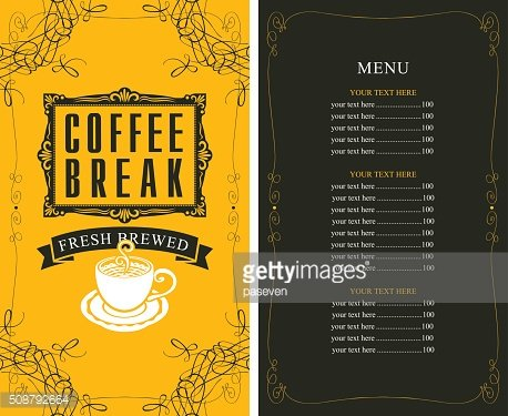 price list and a cup of coffee Clipart Image.