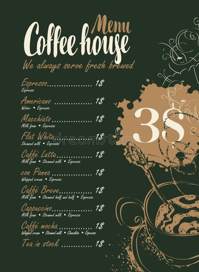 Price List Cup Coffee Stock Illustrations.