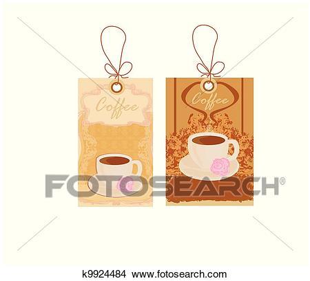 Menu coffee shop price tags Clipart.