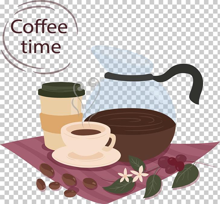 Coffee cup Tea Iced coffee Cafe, Leisure coffee time PNG.