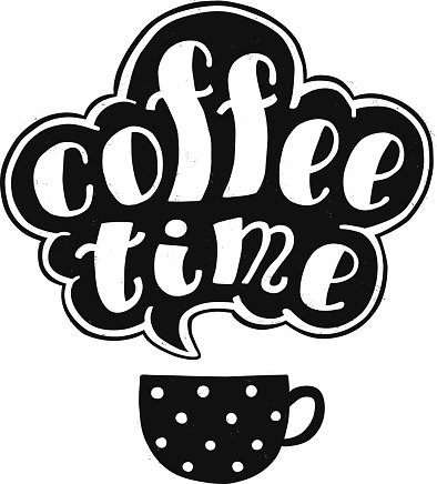 Coffee time black ink handwritten lettering with cup. Part.